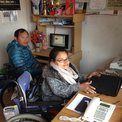 People with disabilities working in an office